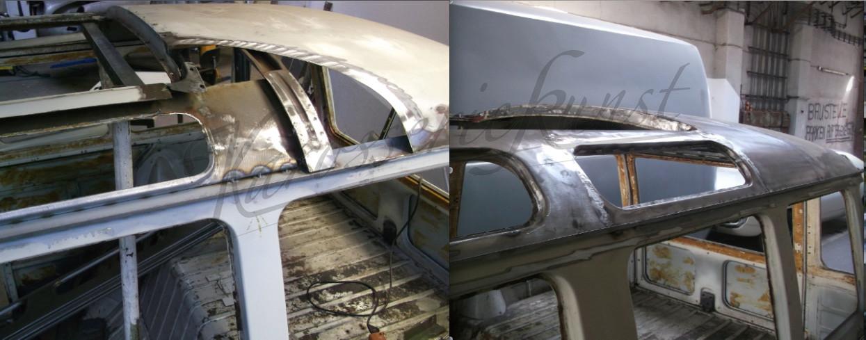 VW T1 Samba Dachhaut inkl. Fensterrahmen, Traverse und Regenrinne erneuert