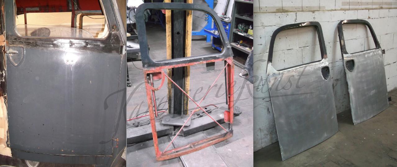 für Oldtimer-LKW Tür - Außenhaut angefertigt und aufgezogen