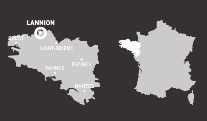 Map of Brittany, France - home of Armorik Single Malt French Whiskies