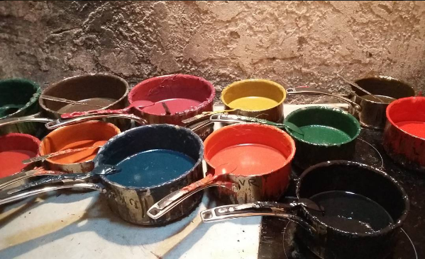 Wax pots for sealing Delord Armagnac bottles - Photo Courtesy of Amanda Garnham