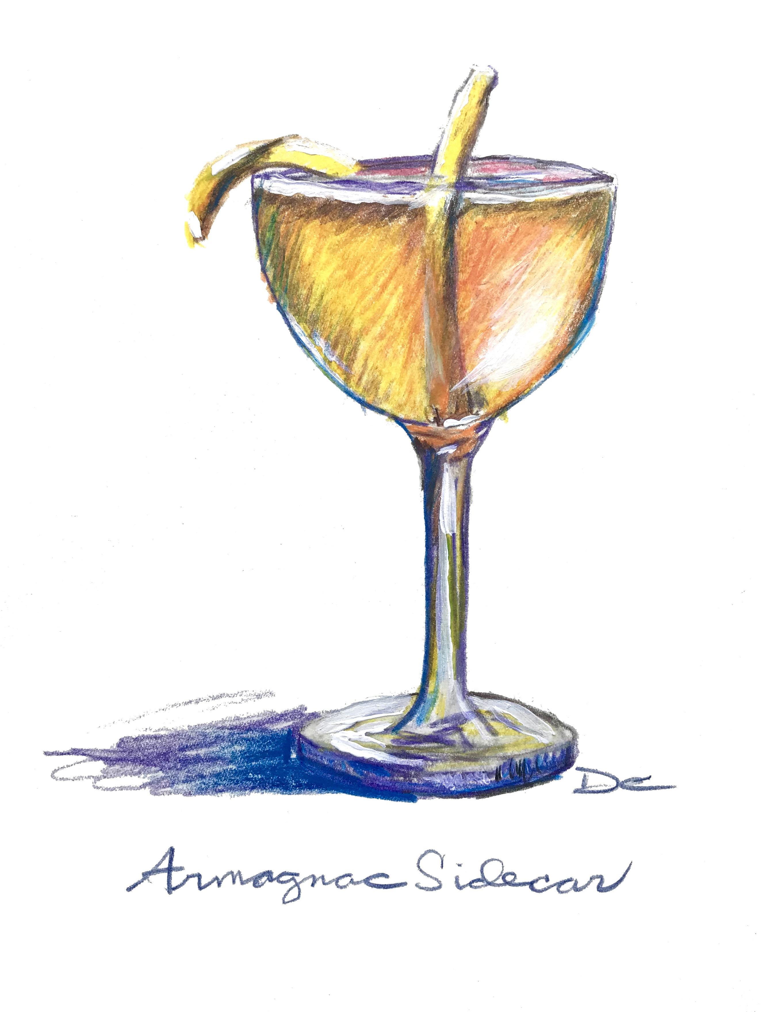 Armagnac Sidecar with Marie Duffau Bas Armagnac, Cointreau, fresh lemon juice