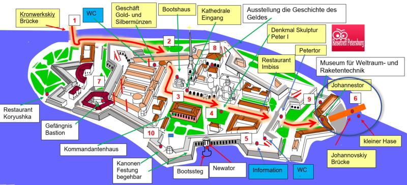 Schema vom Johannestor zur Johannovskiy Brücke
