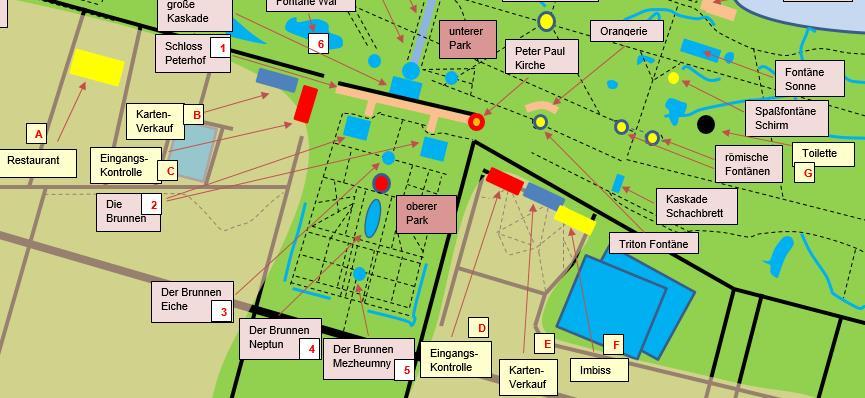 Karte Eingang und Imbiss Peterhofer Park