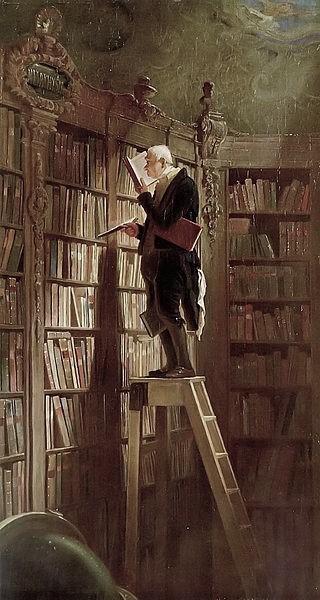 Die klassische Vorstellung vom Geschichte lernen. Bild: public domain, by Carl Spitzweg.