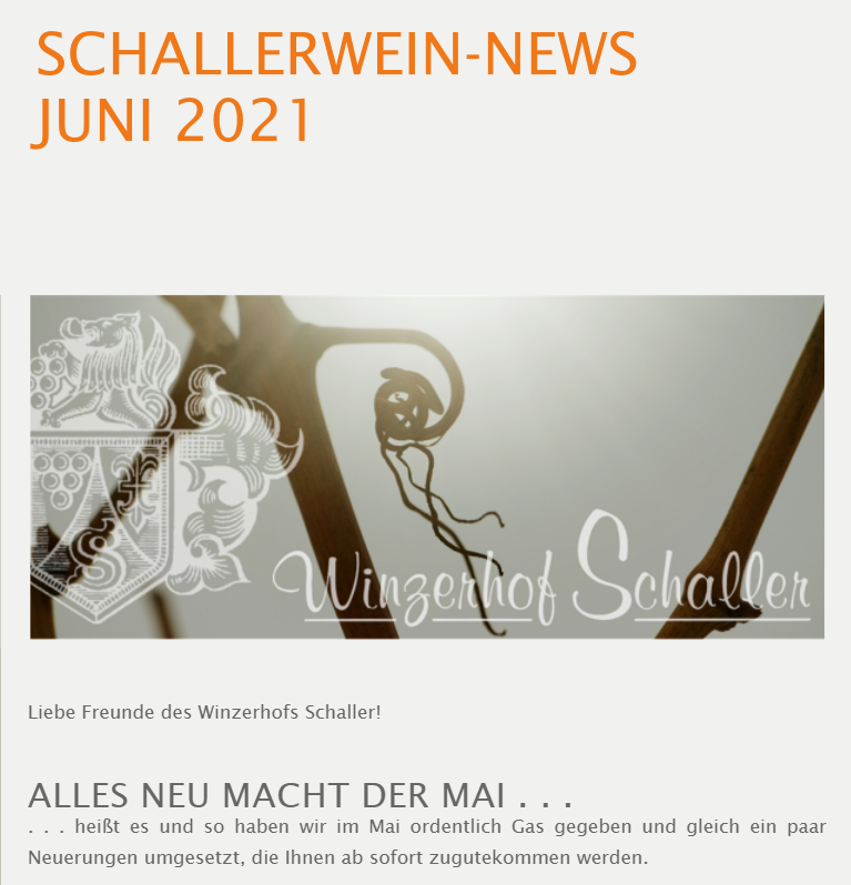 SCHALLERWEIN-NEWS JUNI 2021