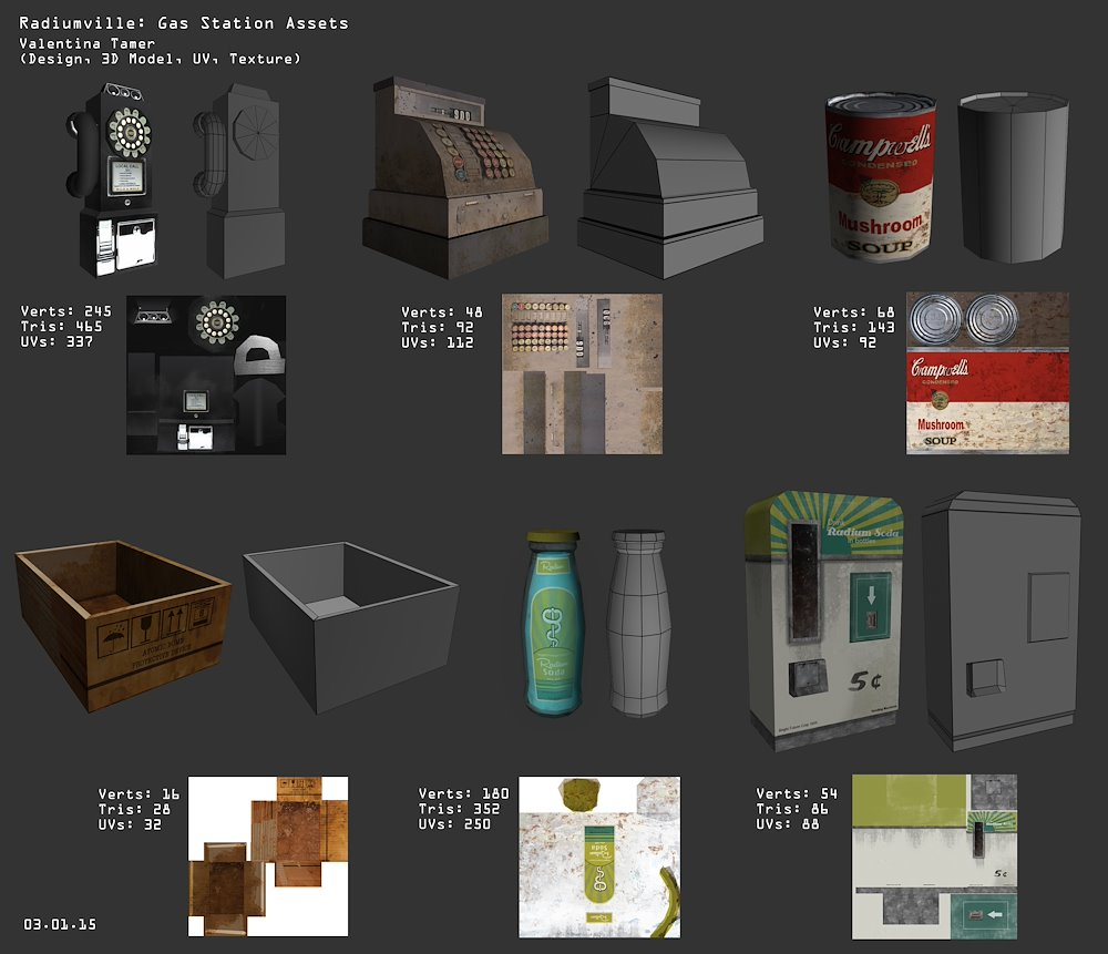 "3D models & textures for the game ""Radiumville"""