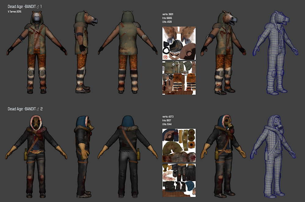 "3D models & textures for the game ""Dead Age"""