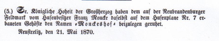 Im Ergebnis der Separation der Feldmark entstand auch das Gut Monckeshof, das Brauer Franz Moncke für seinen Stiefsohn Julius einrichtete.
