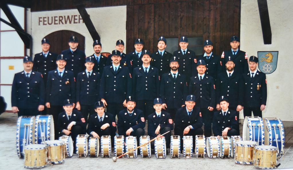 Der Trommlerzug in Feuerwehruniform