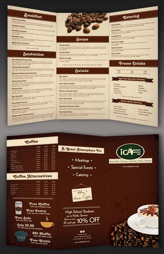 iCafe Tri-Fold Menu Design