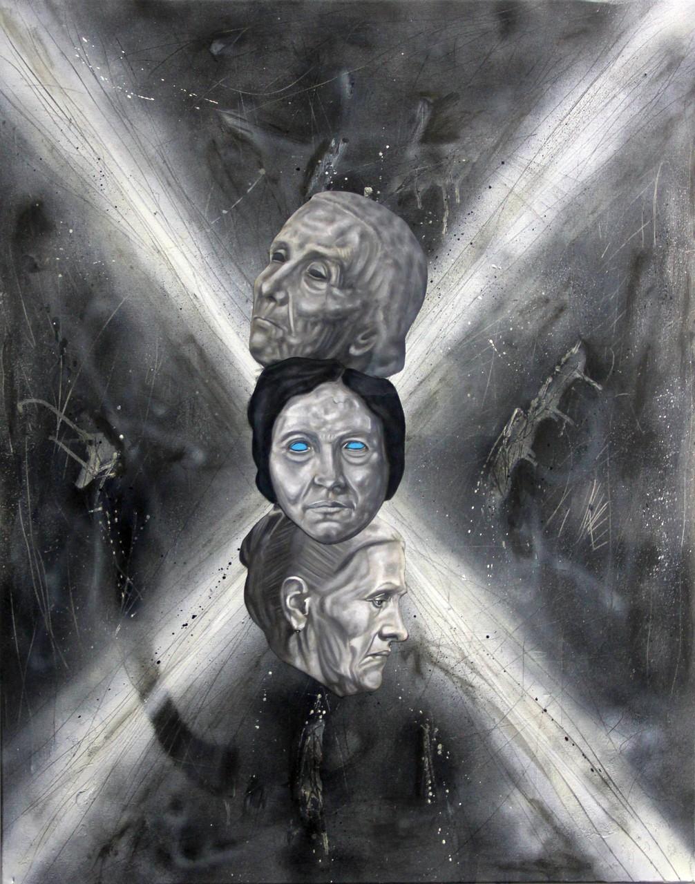 """""""X (Abgrund ohne Grund 2)"""", Bleistift, Kohle, Öl auf Papier, Sprühlack, Öl auf Leinwand, 100x80cm, 2016"""