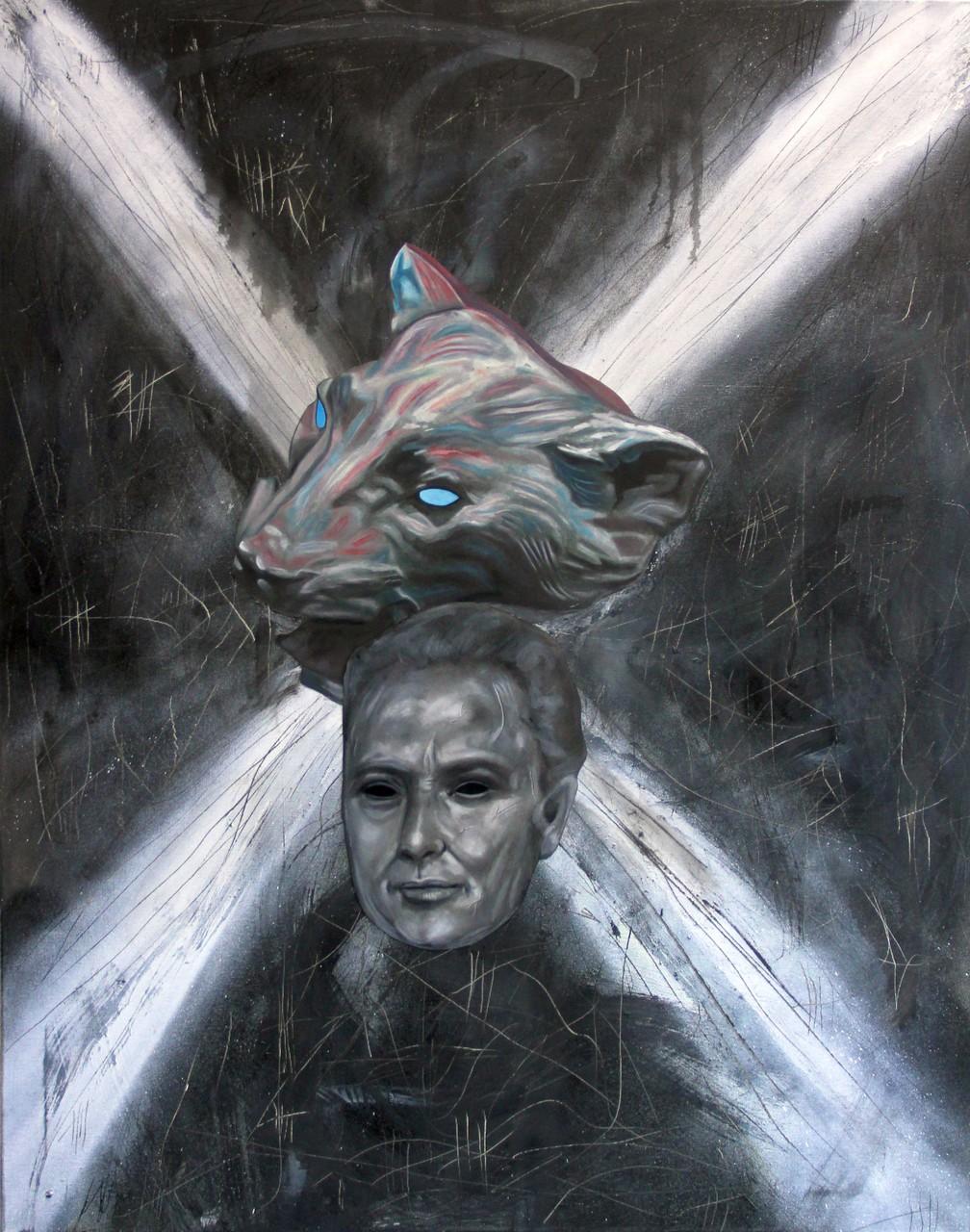 """""""X (Abgrund ohne Grund)"""", Bleistift, Kohle, Öl auf Papier, Sprühlack, Öl auf Leinwand, 100x80cm, 2016"""