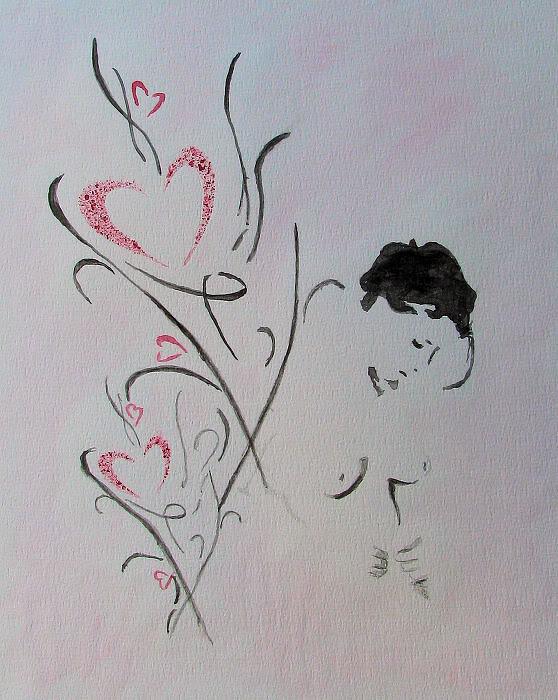 Hearts girl aquarel Art