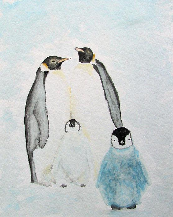Pinguin aquarel Art