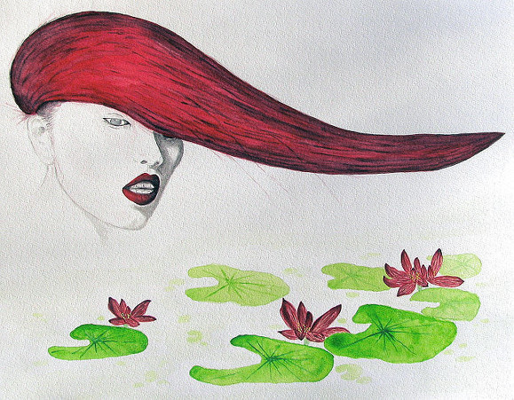 Chinese beauty aquarel Art