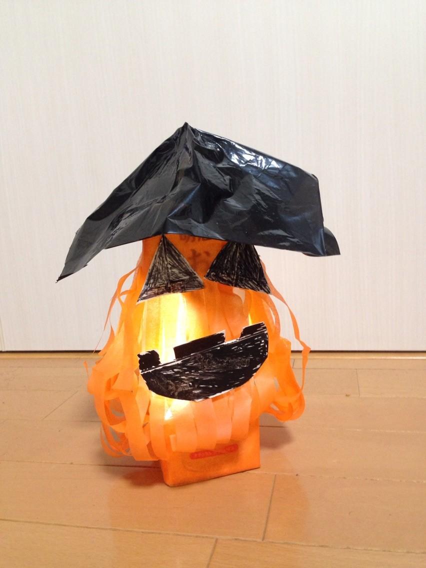 ハロウィン工作第二弾☆ 牛乳パックでつくった「かぼちゃおばけランタン」です!