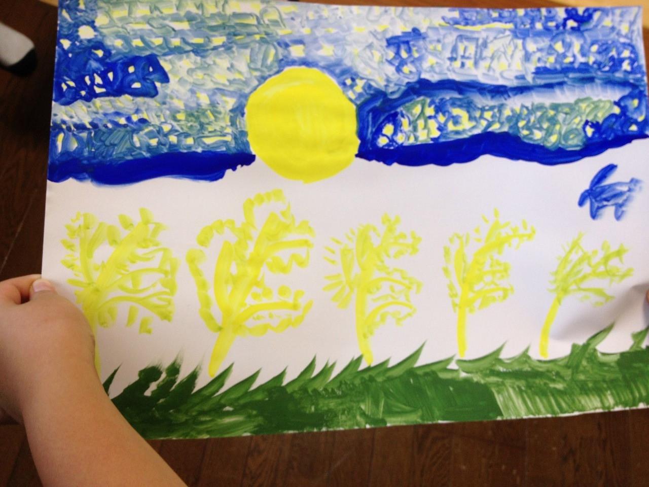 昨夜みた十五夜と天の川を描いたそうです