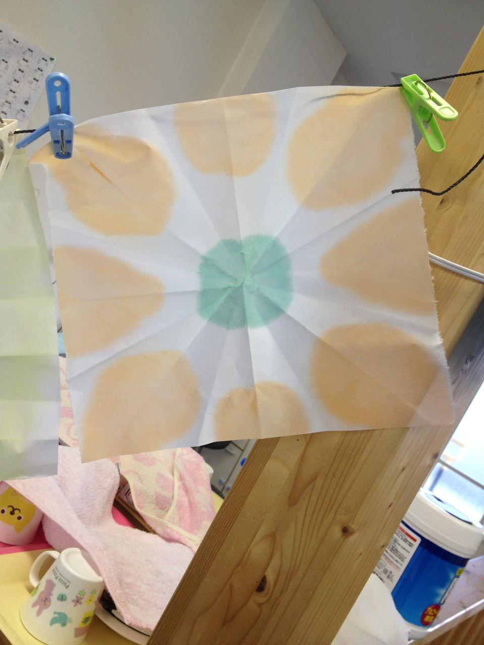和紙を複数折って絵の具をつけて広げてみよう