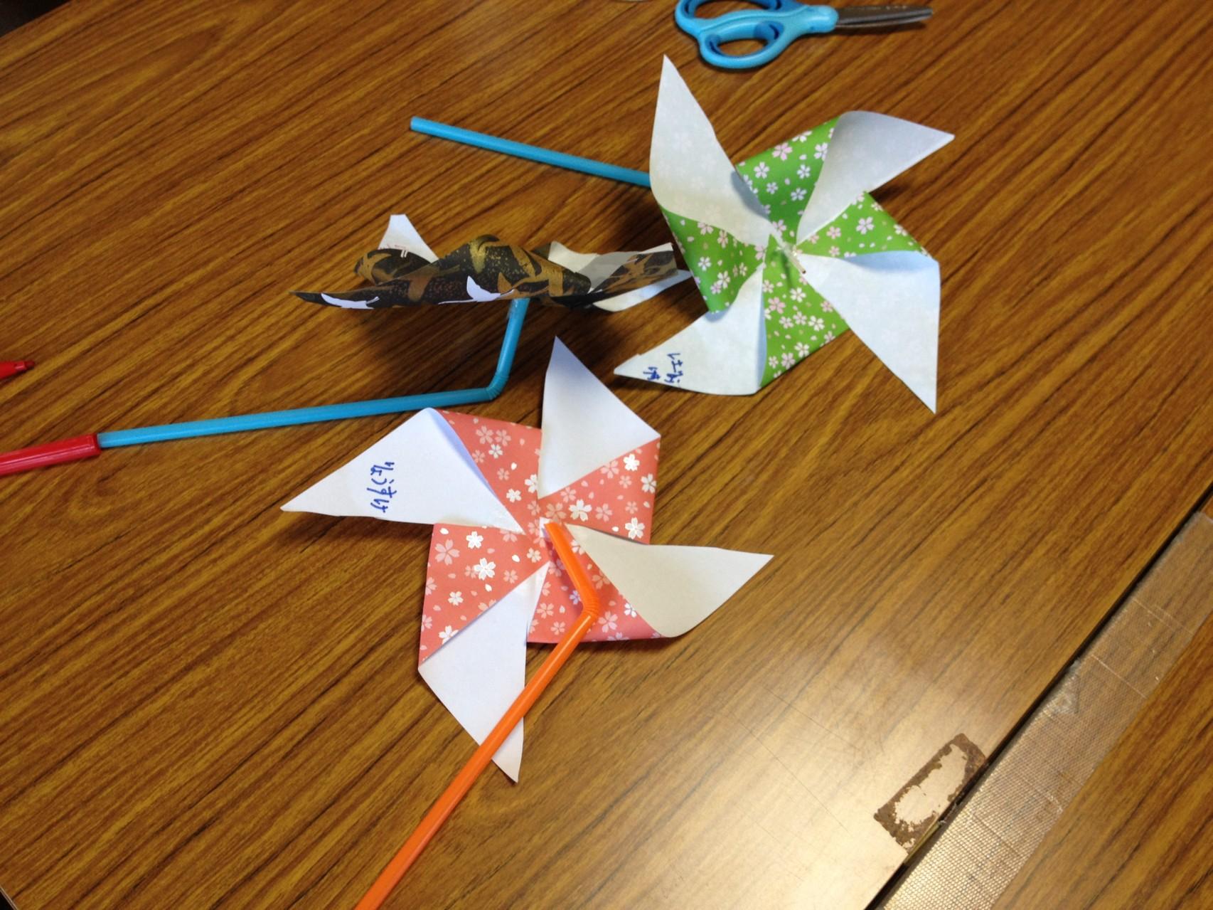折り紙でつくった風車