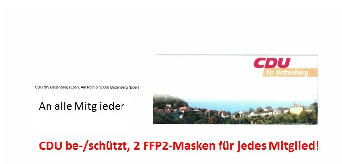Mitgliederbrief zur Kommunalwahl inkl. FFP 2 Masken