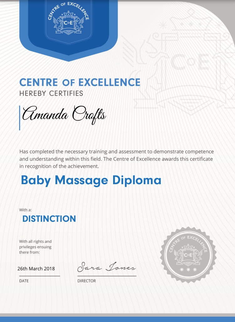 Centre of Excellence Baby Massage Diploma Certificate