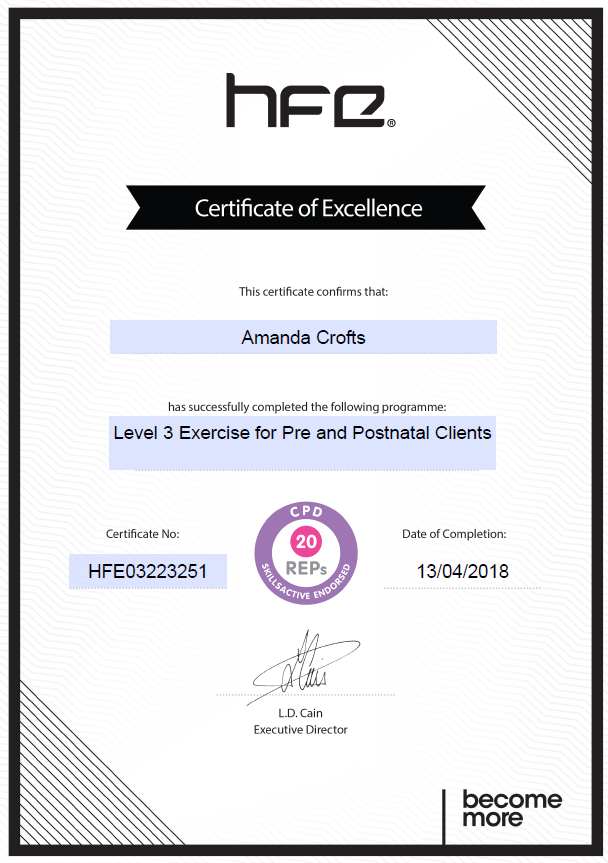 HFE Pre and Postnatal Clients Certificate