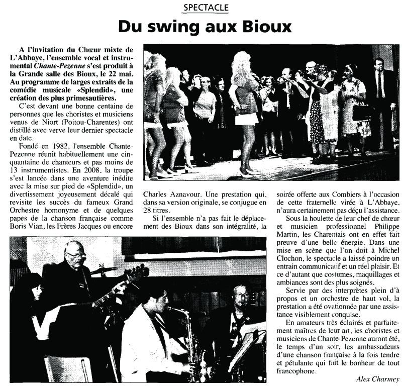 CONCERT EN SUISSE 22 Mai 2010 - Journal de la Vallée de Joux  du  27 Mai 2010