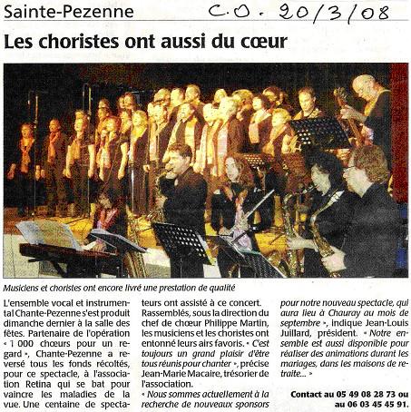 Concert Rétina-France - Le Courrier de l'Ouest 20.03.2008