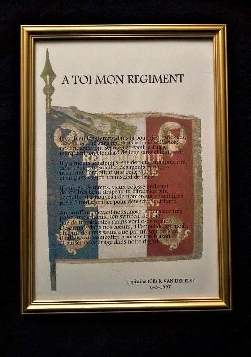 ELEGIE  du 299e R.I., composée par le capitaine VAN DER ELST, au moment de la dissolution du régiment