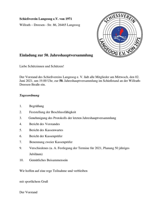 Einladung zur 50. Jahreshauptversammlung