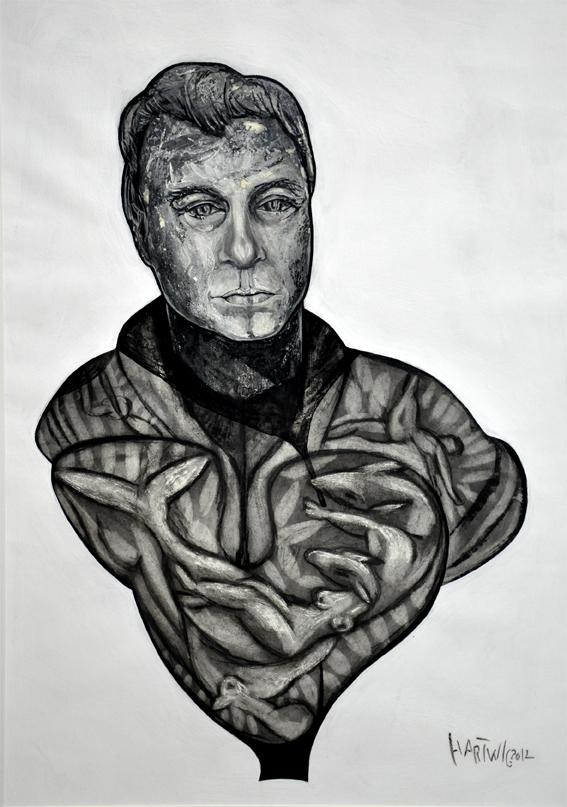 Portrait TK  2012, 50 x 70 cm, charcoal, Siberian chalk, wax oil crayon, acrylic