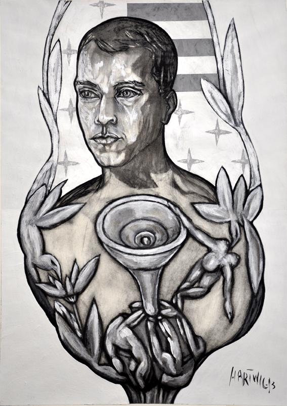 Portrait ST  2014, 50 x 70 cm, charcoal, Siberian chalk, wax oil crayon, acrylic