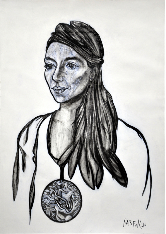 Portrait PR 01  2014, 50 x 70 cm, charcoal, Siberian chalk, wax oil crayon, acrylic