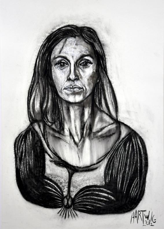 Portrait MH  2012, 50 x 70 cm, charcoal, Siberian chalk