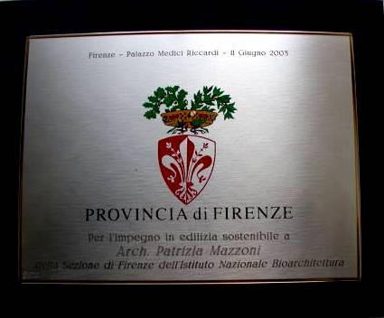 Premio per l 'impegno in Edilizia Sostenibile - Firenze, Palazzo Medici-Ricciardi - 11 Giugno 2003