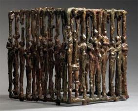 AUTOPORTRAIT AU MIROIR 2002, 30 x 25 x 21 cm, Bronze à cire perdue et miroir