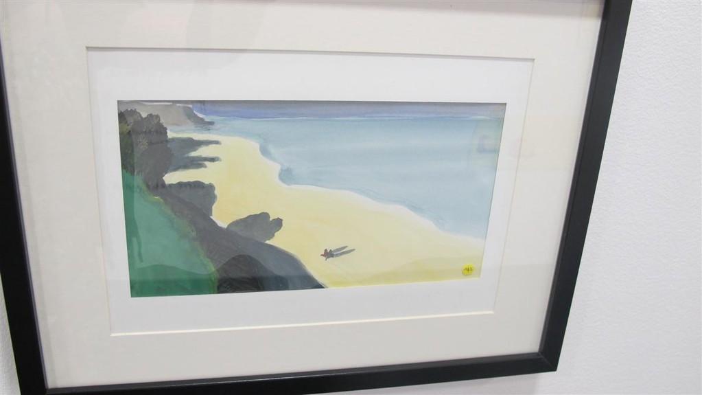 """U """" La plage dernier plan """"  Hommage à Félix valotton Encre et aquarelle sur papier"""