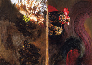 RITUELS MAGIQUES, COQ Technique mixte sur toile diptyque, 2003, 200x115 / 200x115 cm