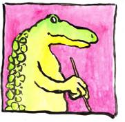 """"""" Croco peintre """"  Encre de chine et de couleur et aquarelle sur papier"""