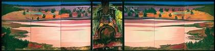 LA LOCOMOTIVE Acrylique sur toile, 950 x 220 cm