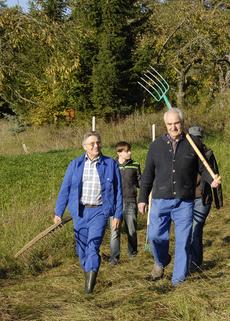 Biotoppflege, Wiesenmahd, Leinach, Muschelkalk, Heugabeln, Sonne