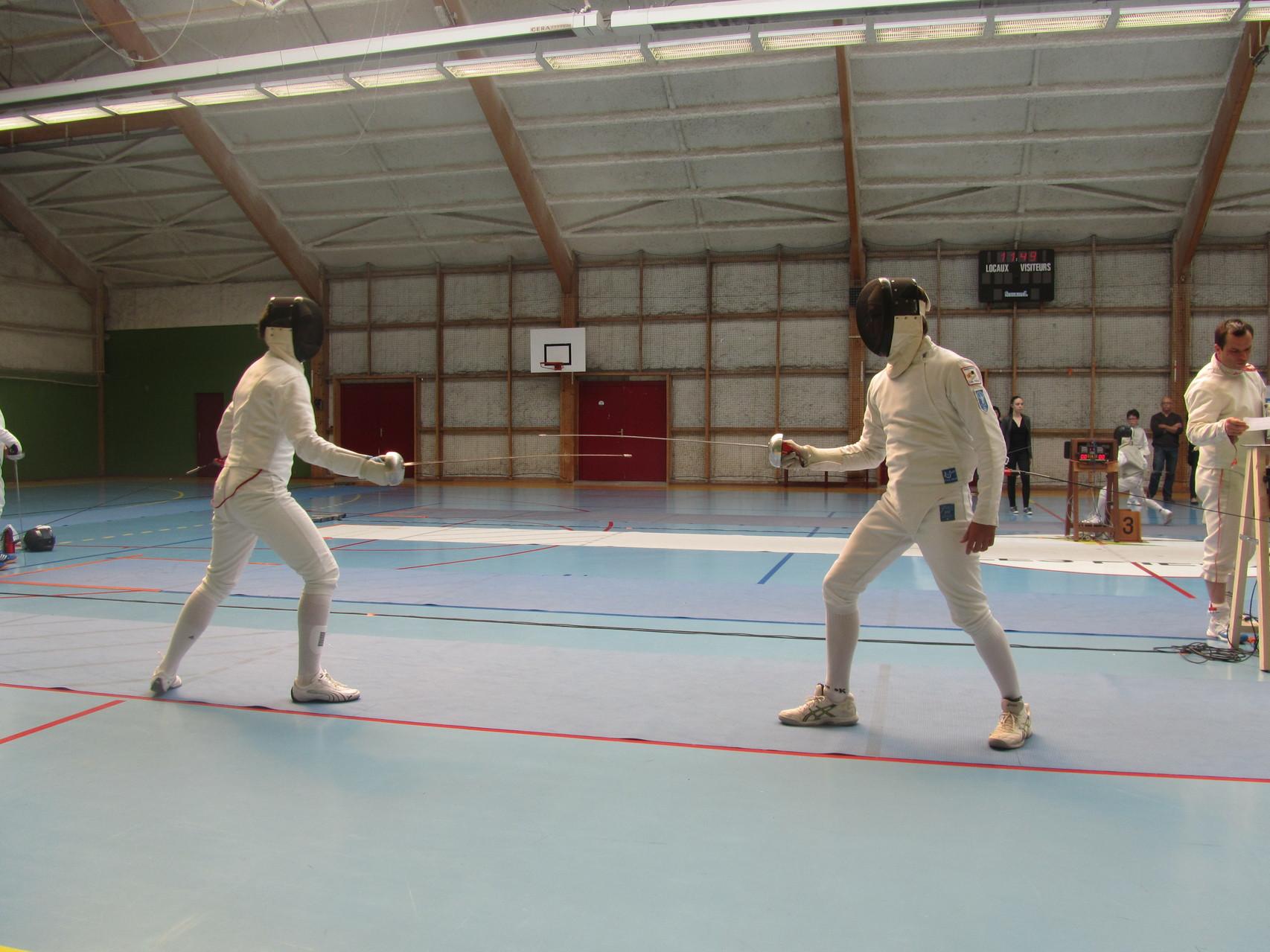 1/2 finale à l'épée homme cadet avec Bastien (à droite)