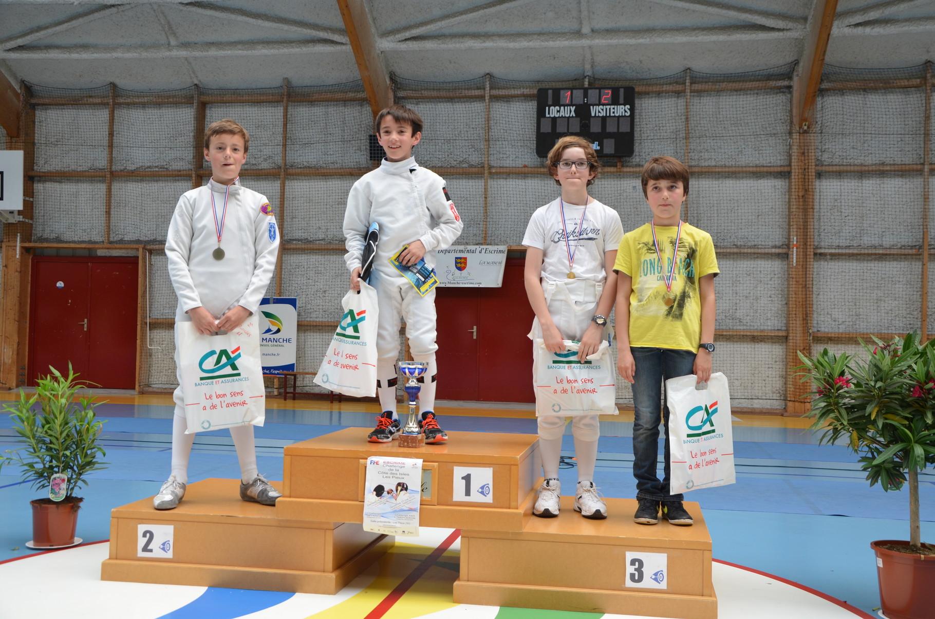 podium fleuret pupille. 3e ex-aequo LEMOINE Malo & SARTELET Rémi