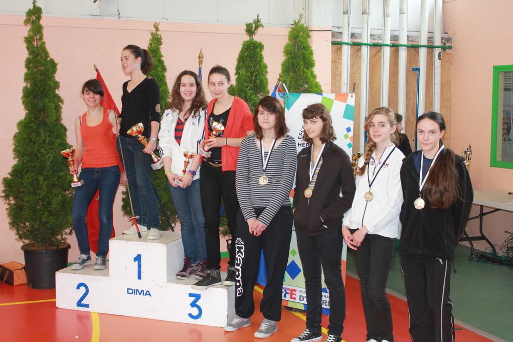 Camille (à droite) médaillée.