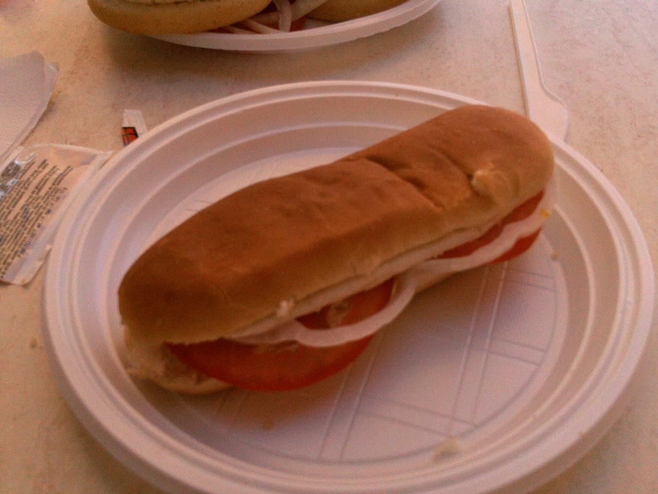 Hot Dogbrötchen mit Ketchup, Zwiebeln und Tomaten