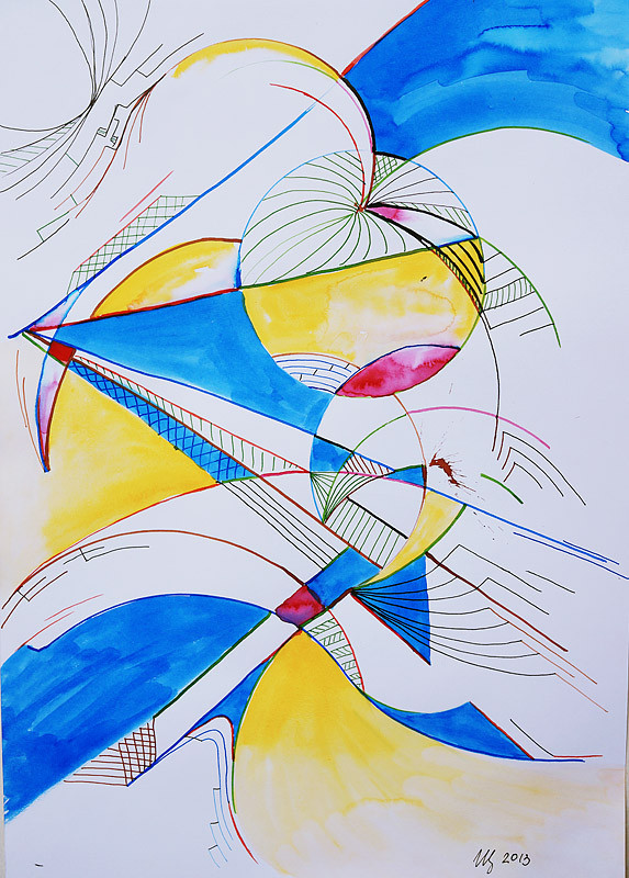 Multisphere. 34 x 49 cm. Ink, watercolor. 11-2013