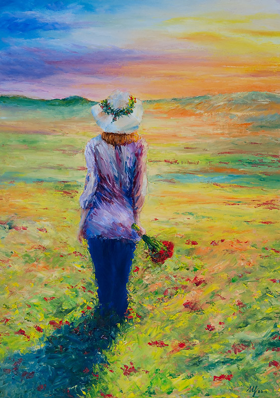 Following the Sun. Oil on canvas, 3x50x70cm. 07-2013