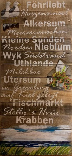 Großes Holzbild mit Begriffen und Motiven von Föhr