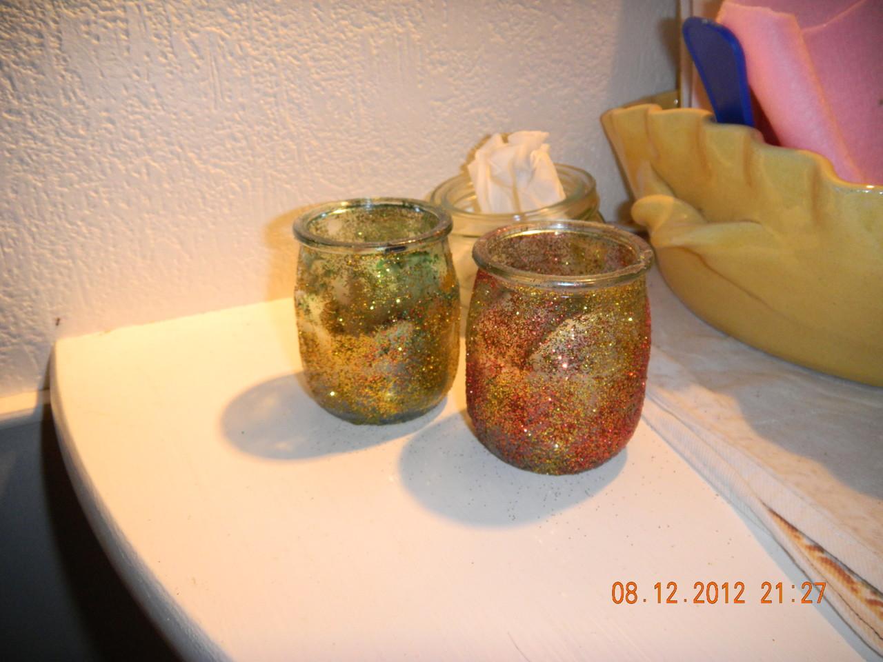 pots en verres paillettes