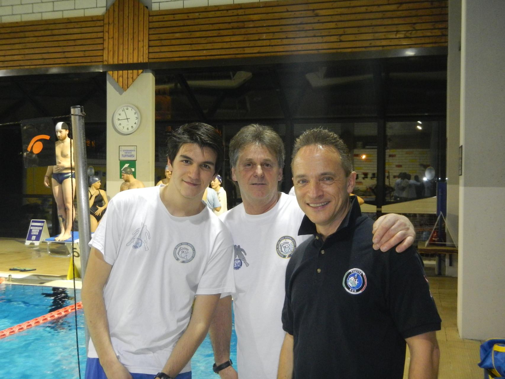 Giorgio Rigon con Marco Martorano e Roberto Caldini in un momento di pausa